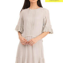 Rrp 1795 Chloe Flared Dress Size 36 / Xs Ruched Pleated 3/4 Sleeve Zip Front Photo