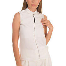 Rrp 180 Armani Jeans Top Size 38 / Xs White Partly Lined Sleeveless Zip Front Photo
