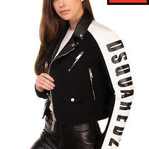 Rrp 1835 Dsquared2 Wool Biker Jacket Size 38 / Xs Coated Zipped Leather Collar Photo