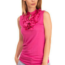Rrp 190 Emporio Armani Top Blouse Size 38 Xs Mulberry Silk Ruffle Front  Photo