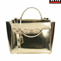 Rrp 1910 Versace Leather Satchel Bag Metallic Medusa Logo Top Handle Padlock Photo