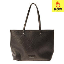 Rrp 200 Love Moschino Tote Bag Large Black Embossed Logo Two Handles Zipped Photo