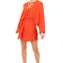 Rrp 2025 Balmain Jersey Blouson Dress Size 38 / M Orange Belted Made in France Photo
