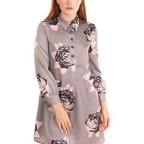 Rrp 205 Armani Jeans Satin Shirt Dress Size 38 / Xs Floral Long Sleeve Photo