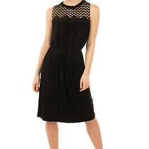 Rrp 205 Elie Tahari a-Line Dress Size L Unlined Gathered Lace Yoke Tie Belt Photo