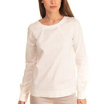 Rrp 225 Armani Jeans Top Size 38 / Xs Ivory Pleated Long Sleeve Round Neck Photo