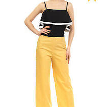 Rrp 245 Theory Trousers Size 6 / M Stretch Yellow Flat Front Zip Fly Cropped Photo