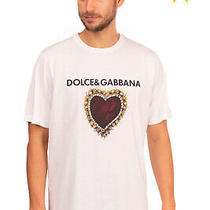 Rrp 255 Dolce & Gabbana T-Shirt Top Size 52 Xl Sacred Heart Print Made in Italy Photo
