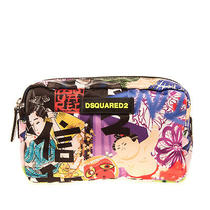 Rrp 275 Dsquared2 Clutch Cosmetic Bag Manga Print Zip Closure Made in Italy Photo