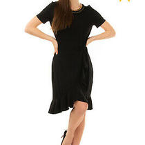 Rrp 280 Michael Michael Kors Frill Dress Size L Black Wrap Effect Chain Trim Photo