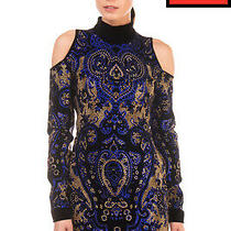 Rrp 2800 Balmain Velvet Mini Sheath Dress Size 38 / M Rhinestoned Cold Shoulder Photo