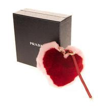 Rrp 305 Prada Rabbit Fur Heart Keyring Charm Adjustable Strap Made in Italy Photo