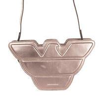 Rrp 315 Emporio Armani Leather Logo Crossbody Clutch Bag Metallic Zip Closure Photo