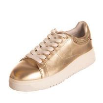 Rrp 330 Emporio Armani Leather Sneakers Size 35 Uk 2 Us 4 Metallic Effect Photo