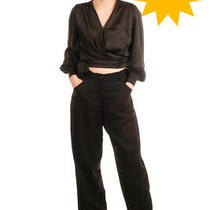 Rrp 335 Emporio Armani Satin Trousers Size 38 / Xs Wide Leg Zip Fly Regular Fit Photo