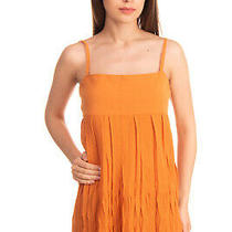 Rrp 340 Costume National Knitted Smock Top Size S Orange Pleated Strappy Photo
