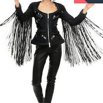 Rrp 3550 Dsquared2 Icon Peplum Jacket Size 38 / Xs Leather Fringe Embellished Photo