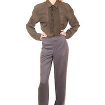 Rrp 360 Armani Collezioni Tailored Trousers Size 44 L Unfinished Cuffs Wide Leg Photo