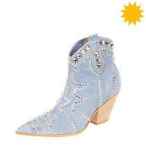 Rrp 360 Eddy Daniele Leather Western Boots Size 36 Uk 3 Us 6 Swarovski Crystals Photo