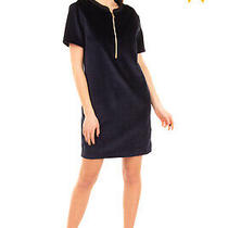 Rrp 370 Versace Jeans Velour Shift Dress Size 44 / L Fully Lined Half Zip Front Photo