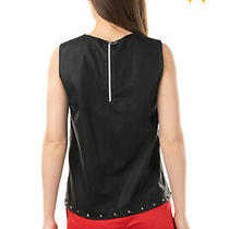 Rrp 375 Versace Jeans Faux Leather Top Blouse Size 40 / S Studded Made in Italy Photo
