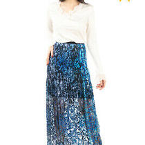 Rrp 405 Elie Tahari Organza & Velour Maxi Skirt Size 6 / S Partly Lined Floral Photo