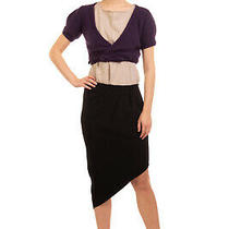 Rrp 405 Haute Hippie Crepe Asymmetrical Skirt Size 6 / M Black Pleated Zip Photo