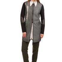Rrp 425 Elie Tahari Longline Jacket Size Xs Honeycomb Mesh Inserts Striped Photo