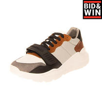 Rrp 510 Burberry Sneakers Eu 42 Uk 8 Us 9 Contrast Leather Logo Made in Italy Photo
