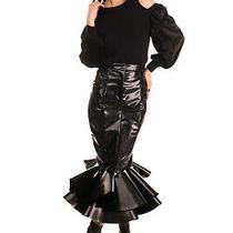 Rrp 5260 Balmain Varnished Trumpet Skirt Size 38 / M Ruffle Hem Made in France Photo