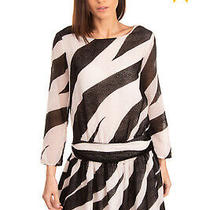 Rrp 585 Boutique Moschino Chenille Blouson Dress Size 38 / S Zebra Stripes Photo