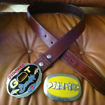 Rrp 600 Dsquared Leather Belt With 2 Buckles Size S Photo