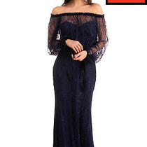 Rrp 625 Badgley Mischka Lace Trumpet Gown Size 6 / M Tie Cuffs Off the Shoulder Photo