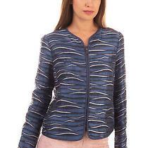 Rrp 625 Emporio Armani Blazer Jacket Size 40 / S Patterned Textured Full-Zip Photo
