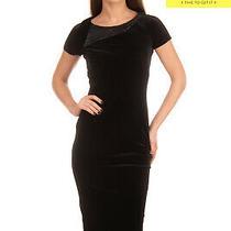 Rrp 630 Armani Collezioni Velvet Midi Wiggle Dress Size 38 Xs Black Rhinestoned Photo