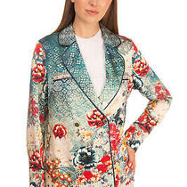 Rrp 640 Camilla Silk Blazer Jacket Size S Floral Rhinestone Double Breasted Photo