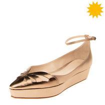 Rrp 695 Giorgio Armani Satin & Leather Ankle Strap Flat Shoes Eu 39 Uk 6 Us 9  Photo