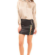 Rrp 725 Versus Versace Leather Pencil Skirt Size 40 / S Lion Head Metal Barbell Photo