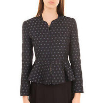 Rrp 745 Armani Collezioni Jacquard Blazer Jacket Size 38 / Xs Peplum Full Zip Photo