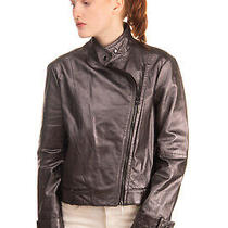 Rrp 805 Armani Jeans Lamb Leather Biker Jacket Size 36 / Xxs Asymmetric Zip Photo