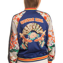 Rrp 815 Camilla Geisha Girl Silk Bomber Jacket Size S Silk Lined Embroidered Photo