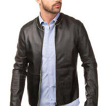 Rrp 955 Armani Jeans Leather Jacket Size 52 / Xl Raw Edges Stand-Up Collar Photo