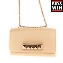 Rrp1190 Valentino Garavani Leather Clutch Bag Rockstuds Grab Handle Chain Strap Photo
