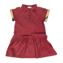 Rrp135 Burberry Children Polo Shirt Dress Size 4y Tartan Turn-Up Cuffs Collared Photo
