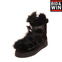Rrp1835 Balmain Leather & Nutria Fur Ankle Boots Eu 40 Uk 6 Us 7 Made in Italy Photo