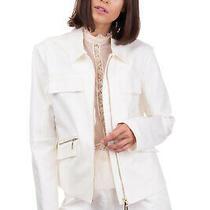 Rrp190 Armani Jeans Blazer Jacket Size 44 / L Ivory Full Zip Classic Neckline Photo