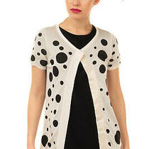 Rrp200 Versus Versace Silk Cardigan Size S Polka Dot Rhinestones Trim Thin Knit Photo