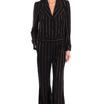 Rrp2490 Chloe Jumpsuit Size 38 S Silk Blend Lined Lame Striped Made in Portugal Photo