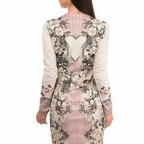 Rrp345 Just Cavalli Bodycon Dress Size 40 / S Floral & Snakeskin Pattern v Neck Photo