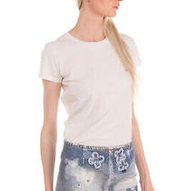 Rrp415 Dsquared2 by Catens Denim Skirt Size 38 Xs Ripped Paint Splatter Flowers Photo